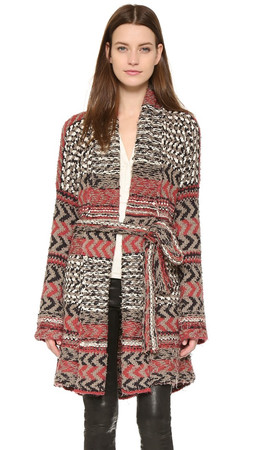 Free People Iona Pattern Wrap Cardi - Charcoal Combo