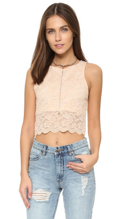Free People Lace Crop Tank - Almond