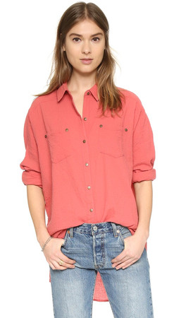 Free People Love Her Madly Button Down - Smokey Rose