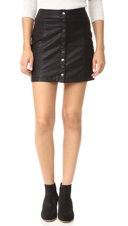 Free People Oh Snap Vegan Leather Miniskirt - Black