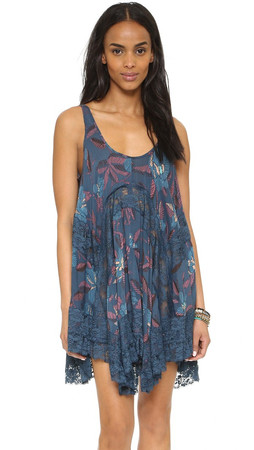 Free People She Swings Slip Dress - Blue Combo