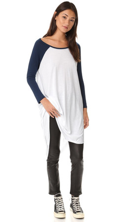 Free People Shredded Baseball Tee - Navy