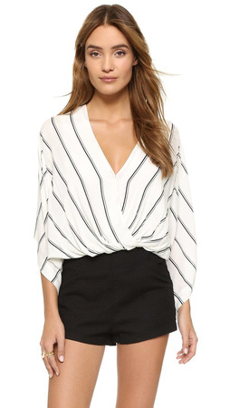 Free People Sleepy Time Striped Blouse - Pearl Combo