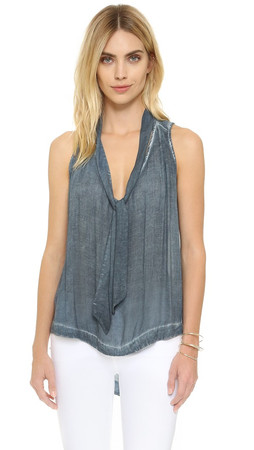Free People Sleeveless Tie Front Top - Blue