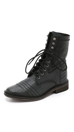 Free People Sounder Lace Up Booties - Black