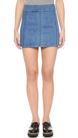 Free People Zip To It Denim Miniskirt - Chloe