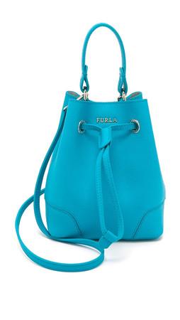 Furla Stacy Mini Drawstring Bucket Bag - Turquoise