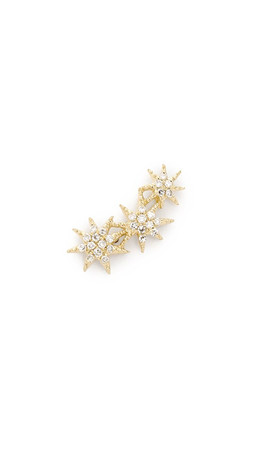 Gabriela Artigas Pave Triple Shooting Star Earring - Clear/Gold