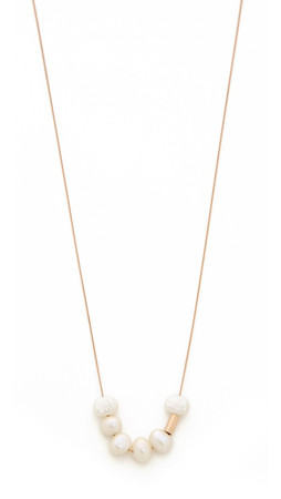 Ginette_Ny Tube Bead Necklace With Cultured Freshwater Pearls - Rose Gold/Pearl