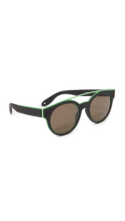 Givenchy Rubber Aviator Sunglasses - Black Green/Brown