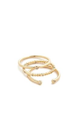 Gorjana Medley Ring Set - Gold/Clear