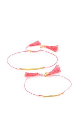 Gorjana Mini + Me Tassel Bracelet Set - Gold/Pink