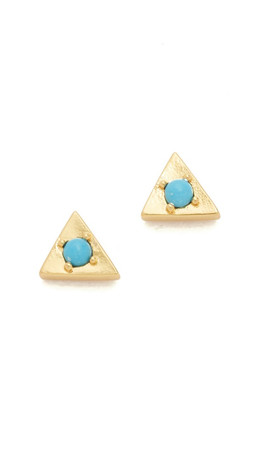 Gorjana Mirrah Triangle Stud Earrings - Gold/Turquoise