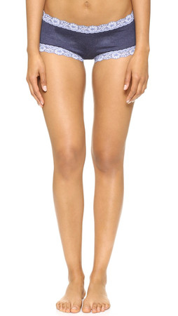 Hanky Panky Heather Jersey Boy Shorts - Chambray/White