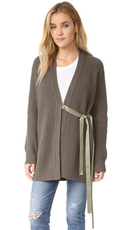 Helmut Lang Cash Wool Tie Cardigan - Marsh