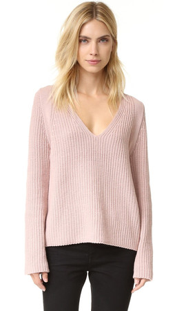 Helmut Lang V Neck Cash Wool Sweater - Dust