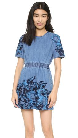 House Of Holland Denim Embroidered Dress - Blue