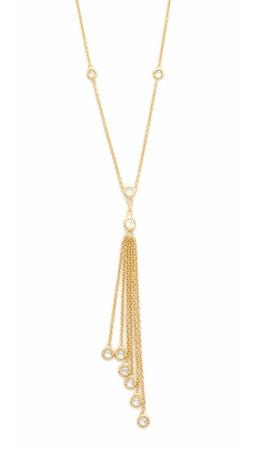 Jacquie Aiche Ja Cz Bezel Chain Tassel Necklace - Gold/Clear