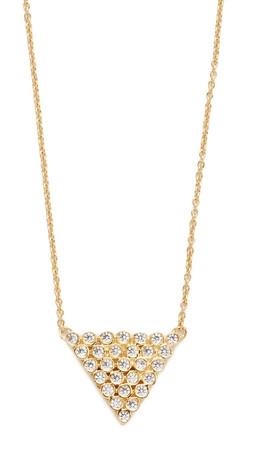 Jacquie Aiche Ja Cz Milgrain Triangle Necklace - Gold/Clear