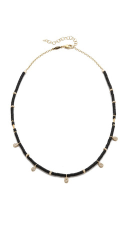 Jacquie Aiche Ja Teardrop Charm Beaded Choker Necklace - Black/Gold