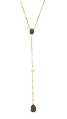 Jacquie Aiche Ja Teardrop + Round Y Necklace - Gold/Black