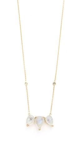 Jacquie Aiche Teardrop Moon Diamond Bezel Necklace - Gold/Moonstone/Clear