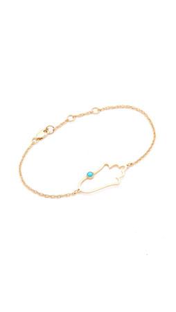 Jennifer Zeuner Jewelry Open Hamsa Bracelet With Turquoise - Gold