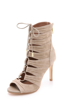 Joie Anja Suede Lace Up Booties - Mousse