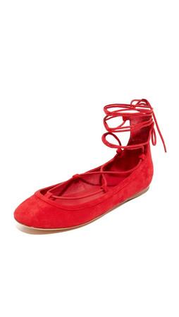 Joie Jenessa Ankle Wrap Ballet Flats - Scarlett