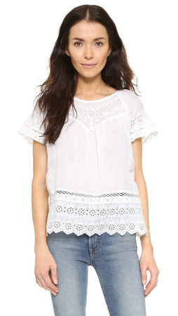 Joie Ladera Embroidered Eyelet Top - Porcelain