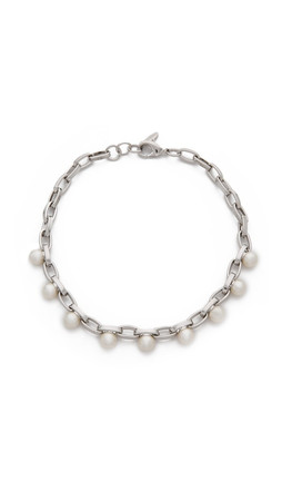 Joomi Lim Dot And Dash Single Row Necklace - Rhodium/Cream