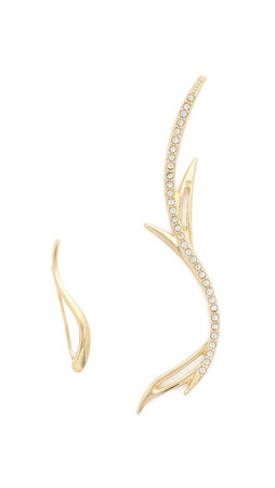 Jules Smith Rhinestone Branch & Horn Earrings - Gold/Clear