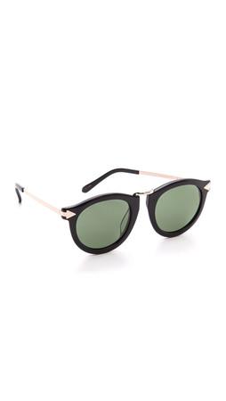 Karen Walker Special Fit Harvest Sunglasses - Black/G15 Mono