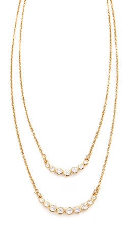 Kate Spade New York Dainty Sparklers Double Strand Necklace - Clear/Gold