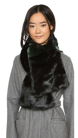 Kate Spade New York Faux Fur Stole Scarf - Black/Loam Green