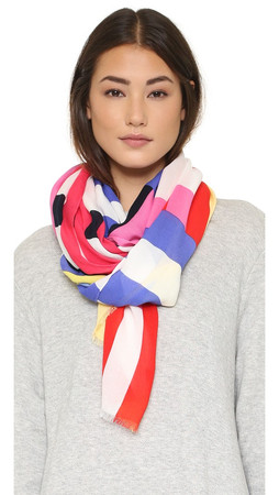 Kate Spade New York Flage Stripes Oblong Scarf - Multi