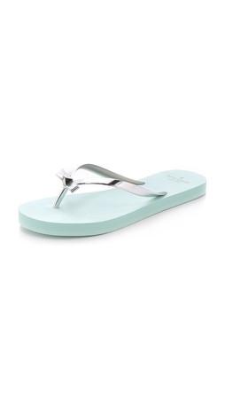Kate Spade New York Happily Imprint Flip Flops - Silver/Light Blue