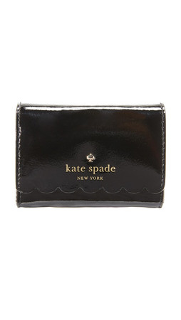 Kate Spade New York Patent Darla Wallet - Black/Crisp Linen