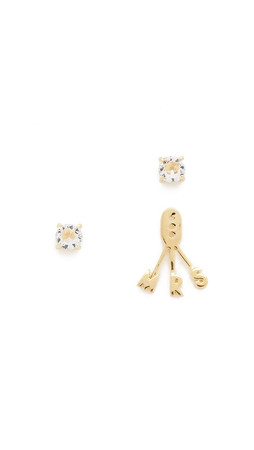 Kate Spade New York Say Yes Mrs Ear Jacket Earrings - Clear/Gold