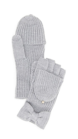 Kate Spade New York Solid Bow Pop Top Gloves - Grey Melange