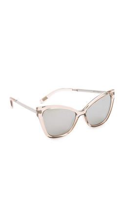 Le Specs Nakey Eyes Sunglasses - Stone/Silver Revo Mirror