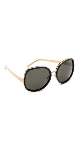 Linda Farrow Luxe Glam Sunglasses - Black/Grey