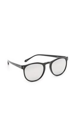 Linda Farrow Luxe Riveted Sunglasses - Black/Platinum
