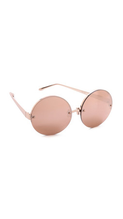 Linda Farrow Luxe Rose Gold Round Sunglasses - Rose Gold