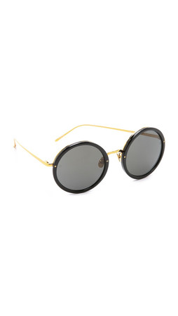 Linda Farrow Luxe Round Sunglasses - Black/Grey