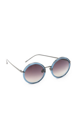 Linda Farrow Luxe Round Sunglasses - Trans Navy/Grey