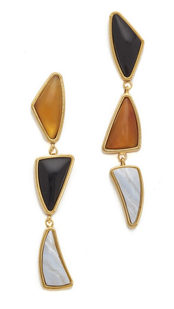 Lizzie Fortunato Prehistoric Earrings - Black/Tan/Blue