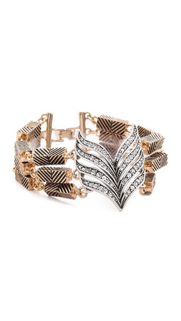 Lulu Frost Symmetry Bracelet - Antique Gold/Clear