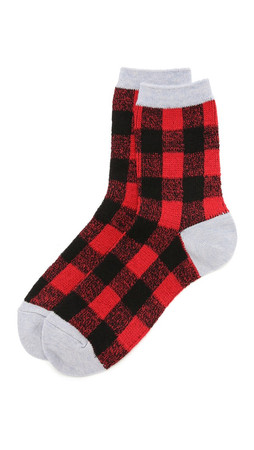 Madewell Buffalo Check Trouser Socks - Scarborough Red