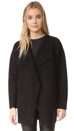 Madewell Draped Placket Sweater Coat - True Black